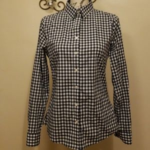 Banana Republic Plaid Preppy Navy Button Down